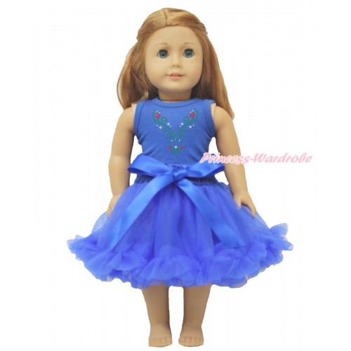 Frozen Royal BlueTank Top Sparkle Rhinestone Princess Anna & Royal Blue Pettiskirt American Girl Doll Outfit DO036