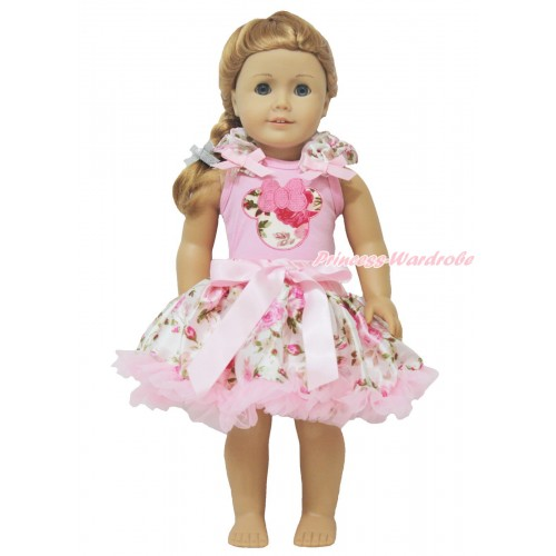 Light Pink Tank Top Light Pink Rose Ruffles Light Pink Bows & Light Pink Rose Minnie & Light Pink Rose Pettiskirt American Girl Doll Outfit DO039