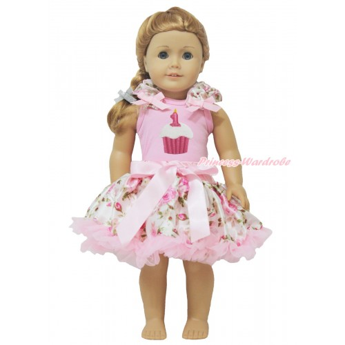 Light Pink Tank Top Light Pink Rose Ruffles Light Pink Bows & Birthday Cake & Light Pink Rose Pettiskirt American Girl Doll Outfit DO040