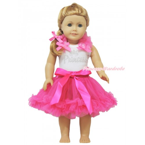 White Tank Top Hot Pink Ruffles & Bows & Rhinestone Princess & Hot Pink Pettiskirt American Girl Doll Outfit DO042