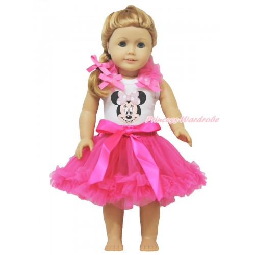 White Tank Top Hot Pink Ruffles & Bows & Light Pink Minnie & Hot Pink Pettiskirt American Girl Doll Outfit DO043