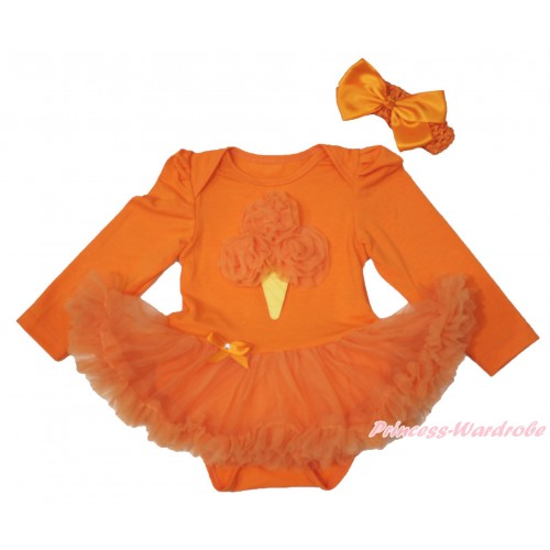 Halloween Orange Long Sleeve Baby Bodysuit Pettiskirt & Orange Rosettes Ice Cream & Orange Headband Silk Bow JS3846