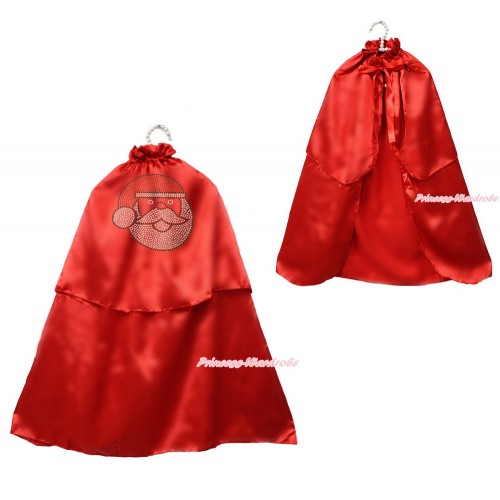 Xmas Hot Red Sparkle Rhinestone Santa Claus Satin Cape Coat Costume SH82