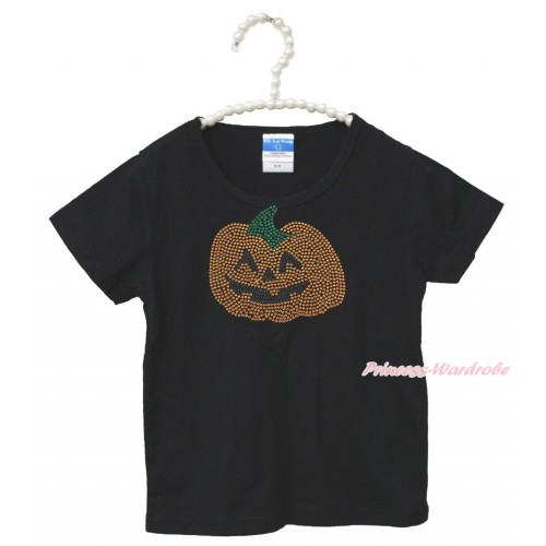 Halloween Black Short Sleeves Top Orange Pumpkin Child Kids Unisex Family Tee Shirt TS34