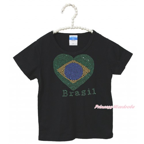 World Cup Black Short Sleeves Top Sparkle Rhinestone Brazil Heart Child Kids Unisex Family Tee Shirt TS35