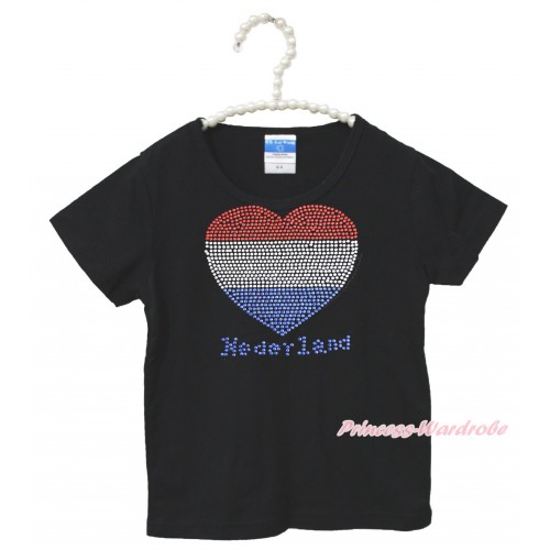 World Cup Black Short Sleeves Top Sparkle Rhinestone Netherlands Heart Child Kids Unisex Family Tee Shirt TS36