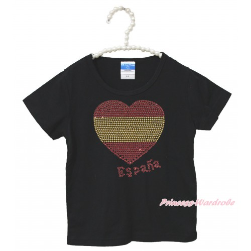 World Cup Black Short Sleeves Top Sparkle Rhinestone Spain Heart Child Kids Unisex Family Tee Shirt TS38