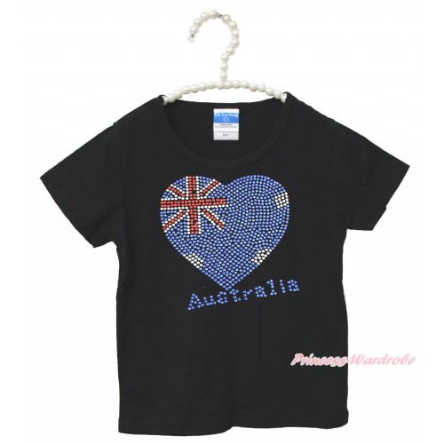 World Cup Black Short Sleeves Top Sparkle Rhinestone Australia Heart Child Kids Unisex Family Tee Shirt TS40
