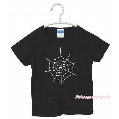 Halloween Black Short Sleeves Top Sparkle Rhinestone Spider Web Child Kids Unisex Family Tee Shirt TS42