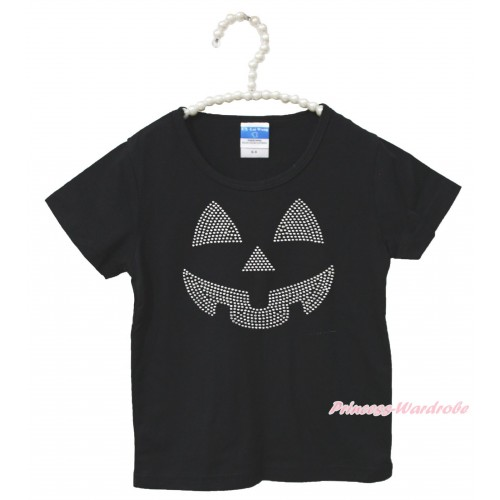 Halloween Black Short Sleeves Top Sparkle Rhinestone Pumpkin Face Child Kids Unisex Family Tee Shirt TS43