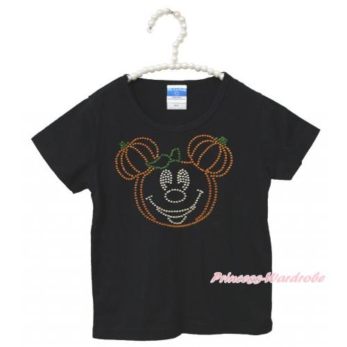 Halloween Black Short Sleeves Top Sparkle Rhinestone Pumpkin Minnie Child Kids Unisex Family Tee Shirt TS45