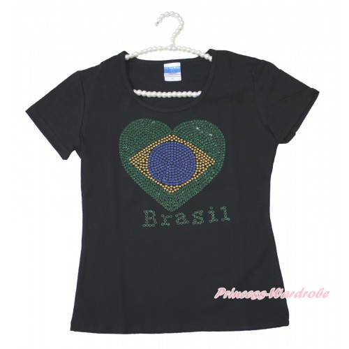 World Cup Black Short Sleeves Top Sparkle Rhinestone Brazil Heart Adult Unisex Family Tee Shirt TS48