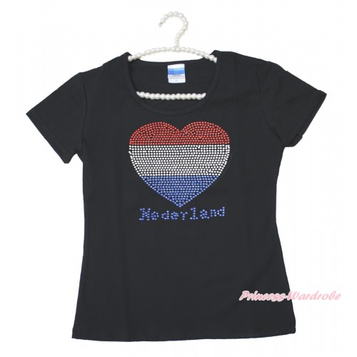 World Cup Black Short Sleeves Top Sparkle Rhinestone Netherlands Heart Adult Unisex Family Tee Shirt TS49