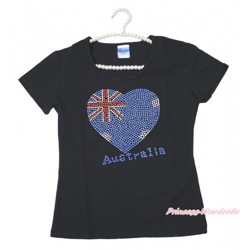 World Cup Black Short Sleeves Top Sparkle Rhinestone Australia Heart Adult Unisex Family Tee Shirt TS53