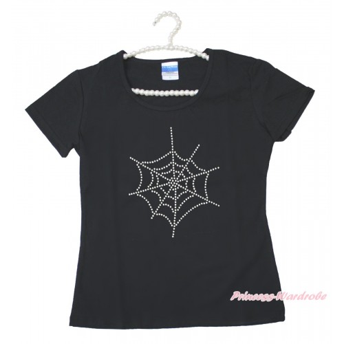 Halloween Black Short Sleeves Top Sparkle Rhinestone Spider Web Adult Unisex Family Tee Shirt TS55