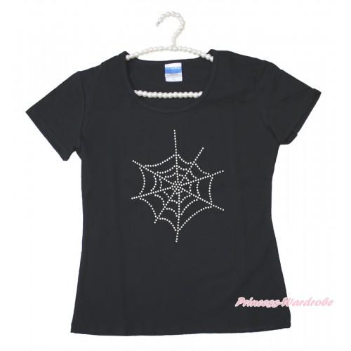 Halloween Black Short Sleeves Top Sparkle Rhinestone Spider Web Adult Unisex Family Tee Shirt TS55