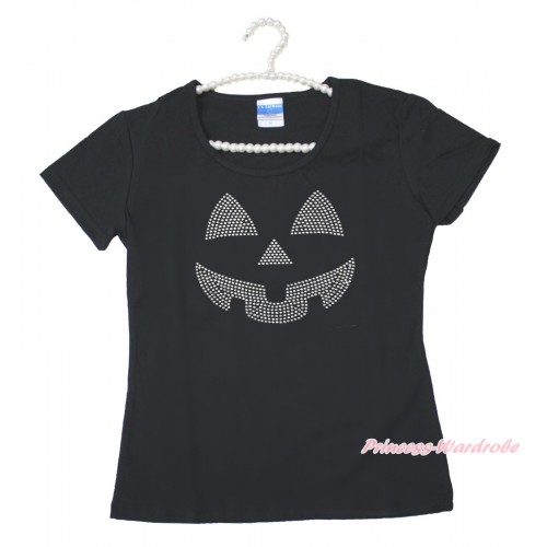 Halloween Black Short Sleeves Top Sparkle Rhinestone Pumpkin Face Adult Unisex Family Tee Shirt TS56