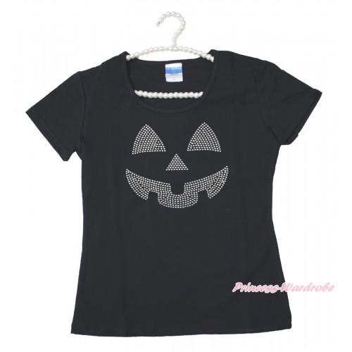 Halloween Black Short Sleeves Top Sparkle Rhinestone Pumpkin Face Adult Unisex Family Tee Shirt TS56