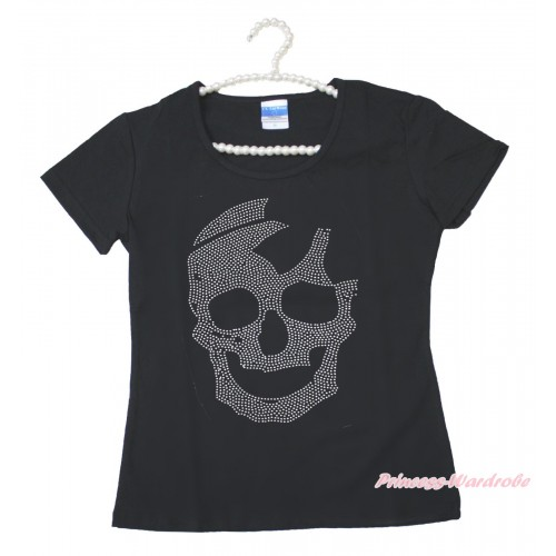 Halloween Black Short Sleeves Top Sparkle Rhinestone Skeleton Adult Unisex Family Tee Shirt TS57