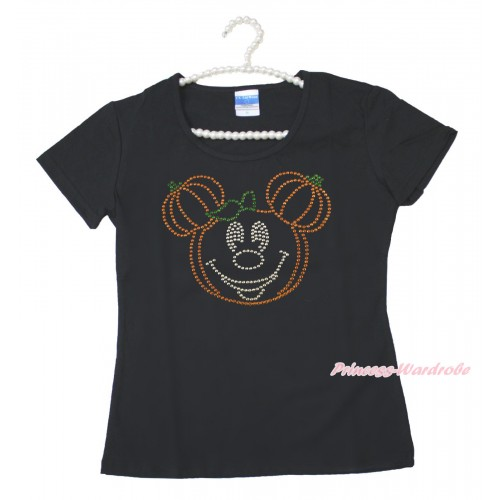 Halloween Black Short Sleeves Top Sparkle Rhinestone Pumpkin Minnie Adult Unisex Family Tee Shirt TS58