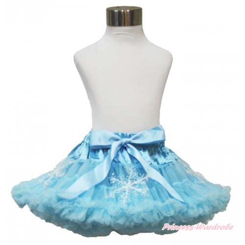 Frozen Elsa Snowflakes Light Blue Teen Full Pettiskirt XXL AP102