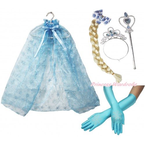 Frozen Elsa Sparkle Snowflakes Light Blue Organza Cape & Sparkle Rhinestone Snowflakes Elbow Length Gloves & Hair Dress Up Party Costume Set C286