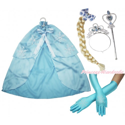 Frozen Elsa Snowflakes Light Blue Satin Cape & Sparkle Rhinestone Snowflakes Elbow Length Gloves & Hair Dress Up Party Costume Set C287