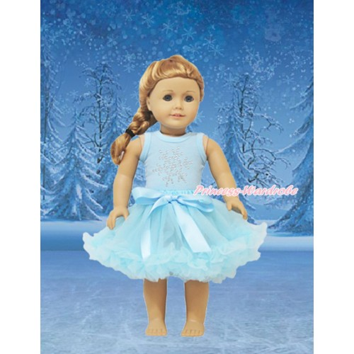 Frozen Light Blue Tank Top Sparkle Rhinestone Snowflakes & Light Blue Pettiskirt American Girl Doll Outfit DO026