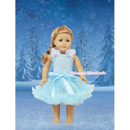 Frozen Light Blue Tank Top White Ruffles Sparkle Silver Grey Bows & Sparkle Rhinestone Snowflakes & Light Blue Pettiskirt American Girl Doll Outfit DO038