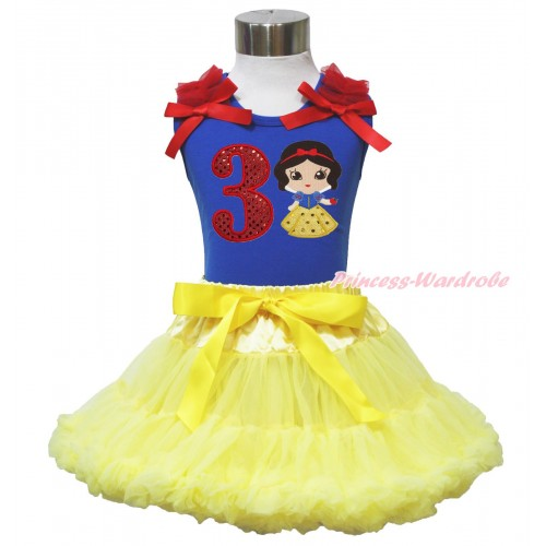 Royal Blue Tank Top Red Ruffles & Bow & 3rd Sparkle Red Birthday Number Snow White Print & Yellow Pettiskirt MN129