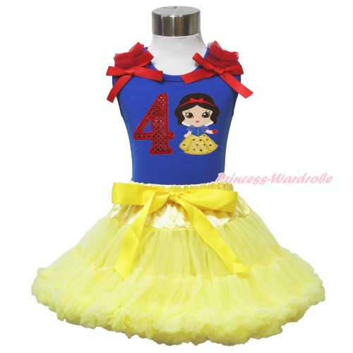 Royal Blue Tank Top Red Ruffles & Bow & 4th Sparkle Red Birthday Number Snow White Print & Yellow Pettiskirt MN130