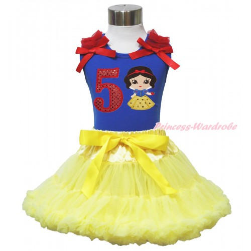 Royal Blue Tank Top Red Ruffles & Bow & 5th Sparkle Red Birthday Number Snow White Print & Yellow Pettiskirt MN131