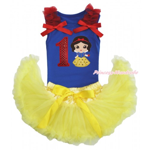 Royal Blue Baby Pettitop Red Ruffles & Bows & 1st Sparkle Red Birthday Number Snow White Print & Yellow Newborn Pettiskirt NG1571