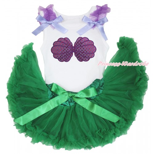 White Baby Pettitop Dark Purple Ruffles Lavender Bows & Mermaid Sea Shell Bra & Kelly Green Newborn Pettiskirt NN212