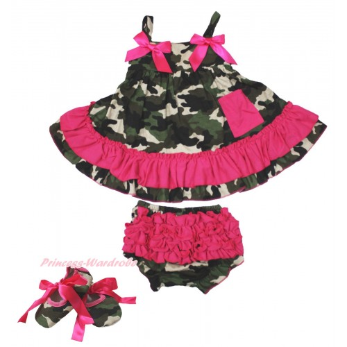 Hot Pink Camouflage Swing Top & Hot Pink Bow & Camouflage Panties Bloomers with Hot Pink Ribbon Camouflage Shoes SP21