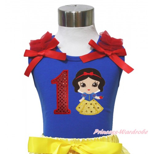 Royal Blue Tank Top Red Ruffles & Bows & 1st Sparkle Red Birthday Number Snow White Print T449