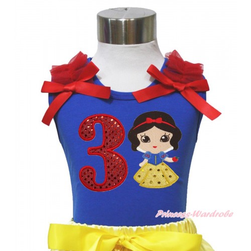 Royal Blue Tank Top Red Ruffles & Bows & 3rd Sparkle Red Birthday Number Snow White Print T451