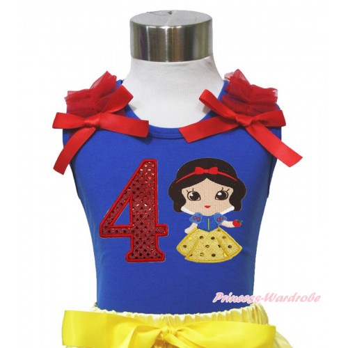 Royal Blue Tank Top Red Ruffles & Bows & 4th Sparkle Red Birthday Number Snow White Print T452