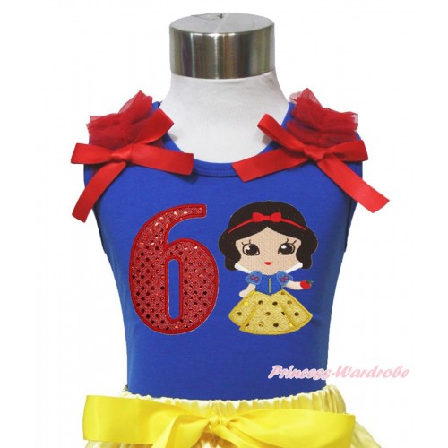Royal Blue Tank Top Red Ruffles & Bows & 6th Sparkle Red Birthday Number Snow White Print T454