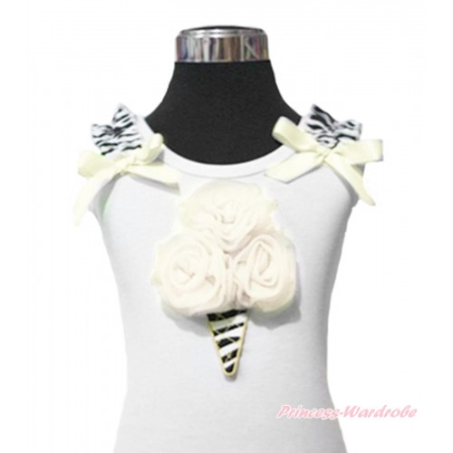 Cream White Zebra Ice Cream White Tank Top with Zebra Ruffles and Cream White Ribbon TB114