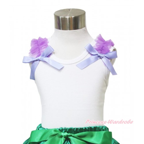 White Tank Top Dark Purple Ruffles & Lavender Bow TB873