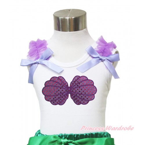 White Tank Top Dark Purple Ruffles Lavender Bow & Mermaid Sea Shell Bra Print TB874
