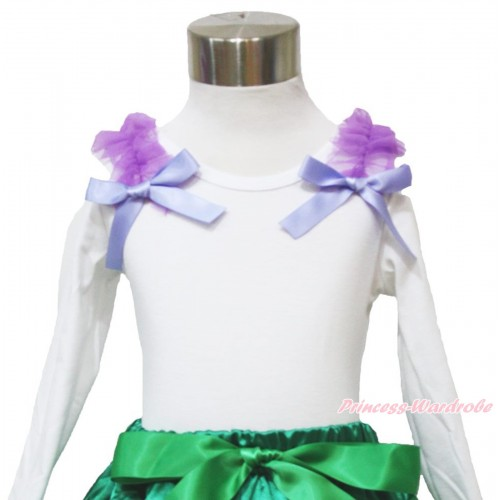 White Long Sleeves Top Dark Purple Ruffles & Lavender Bow TW464