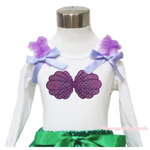 White Long Sleeves Top Dark Purple Ruffles & Lavender Bow & Mermaid Sea Shell Bra Print TW466