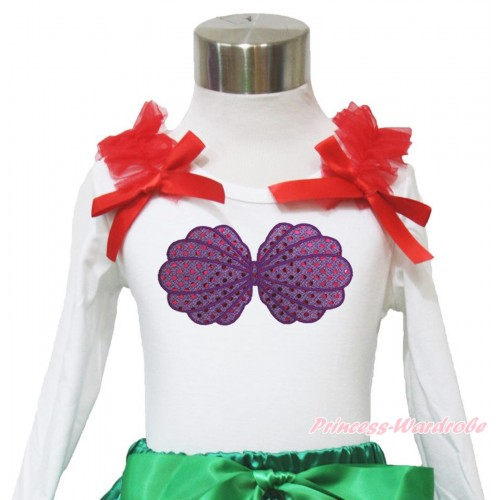 White Long Sleeves Top Red Ruffles & Bow & Mermaid Sea Shell Bra Print TW469