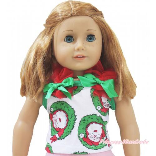 Xmas Santa Claus Tank Top Red Ruffles Kelly Green Bows American Girl Doll Top Outfit DT001