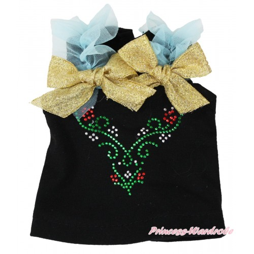 Frozen Black Tank Top Light Blue Ruffles Sparkle Gold Bows & Sparkle Rhinestone Princess Anna American Girl Doll Top Outfit DT002