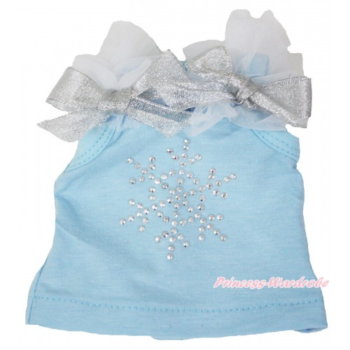 Frozen Light Blue Tank Top White Ruffles Sparkle Silver Grey Bows & Sparkle Rhinestone Snowflake American Girl Doll Top Outfit DT003