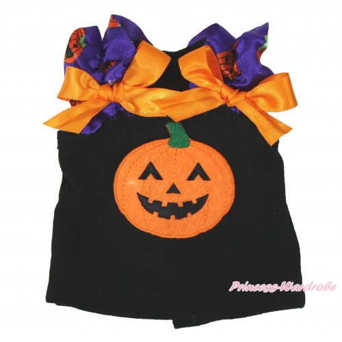 Halloween Black Tank Top Purple Pumpkin Ruffles Orange Bows & Pumpkin American Girl Doll Top Outfit DT006