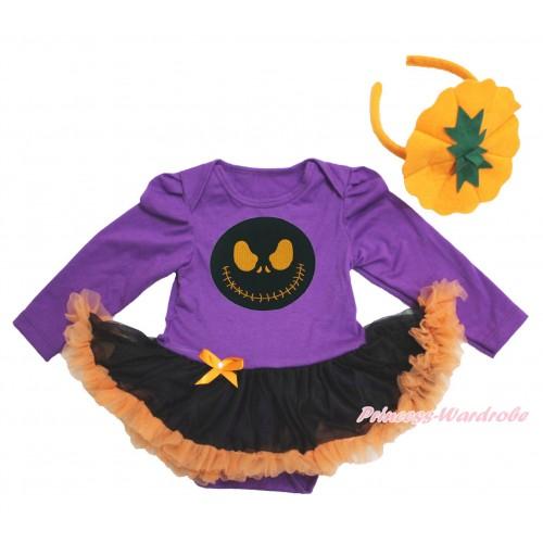 Halloween Dark Purple Long Sleeve Bodysuit Black Orange Pettiskirt & Nightmare Before Christmas Jack & Pumpkin Headband JS3904